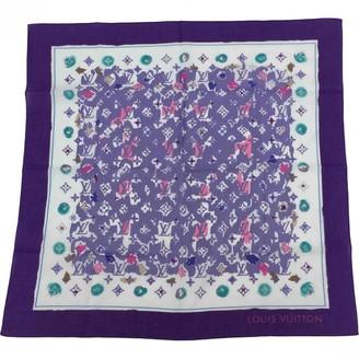 Louis Vuitton Purple Cotton Silk handkerchief