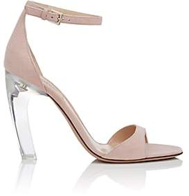 Valentino Women's Acrylic-Glass-Heel Suede Sandals - Nudeflesh