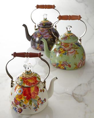 Mackenzie Childs Flower Market White Two-Quart Tea Kettle