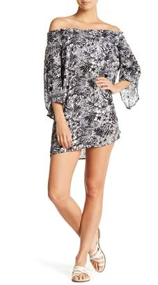Hawaiian Tropic Cover Me Up Off-the-Shoulder Printed Cover Up