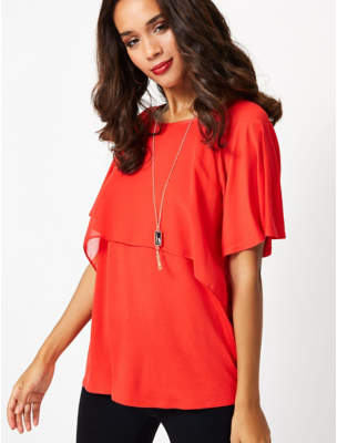 George Red Layered Top with Necklace