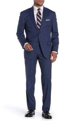Hart Schaffner Marx Navy Striped Two Button Notch Lapel Regular Fit Suit