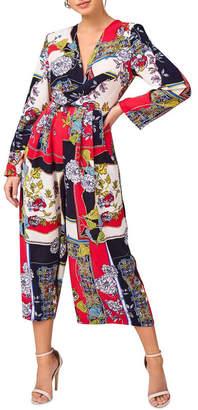 Girls On Film Scarf Print Jumpsuit