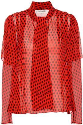 Diane von Furstenberg Polka-dot silk chiffon blouse