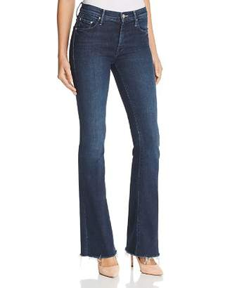 Mother The Weekender Fray Flared Jeans in Disco Doll