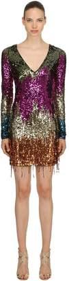 Amen Sequined V Neck Mini Dress