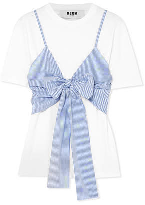 MSGM Layered Tie-front Striped Cotton-poplin And Jersey T-shirt - White