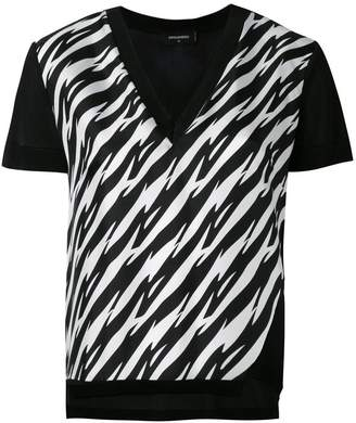 DSQUARED2 houndstooth slit V-neck T-shirt