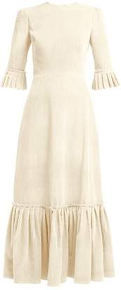 The Vampire's Wife Festival Ruffle Trimmed Cotton Corduroy Maxi Dress - Womens - Cream