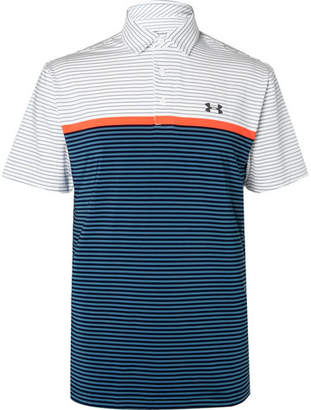 Under Armour Playoff Striped Heatgear Golf Polo Shirt