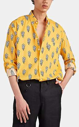 Jacquemus Men's Sheaf-Print Cotton Voile Shirt - Gold