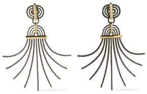 Lanvin Elvira Hammered Burnished Gold-Tone Clip Earrings