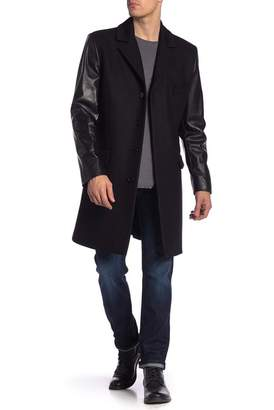 LAMARQUE Count Contrast Leather Sleeve Wool Blend Coat