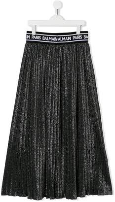 Balmain Kids pleated lurex maxi skirt