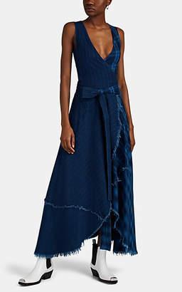 Greg Lauren Women's Split Mixed-Media Wrap Dress - Dk. Blue