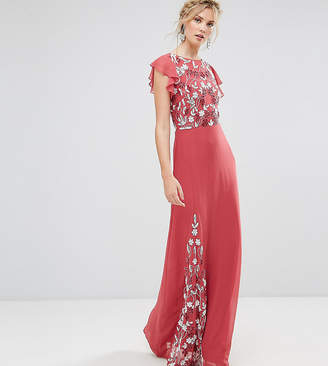 Maya Tall Embellished Maxi Dress With Fluted Sleeve
