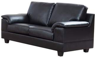 Benzara Deluxe PU Leather Loveseat With Velvety Arm Rest