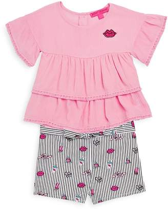 Betsey Johnson Little Girl's Two-Piece Ruffled Top and Printed Shorts Set