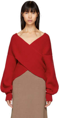 Rosetta Getty Red Ribbed Cocoon Sweater