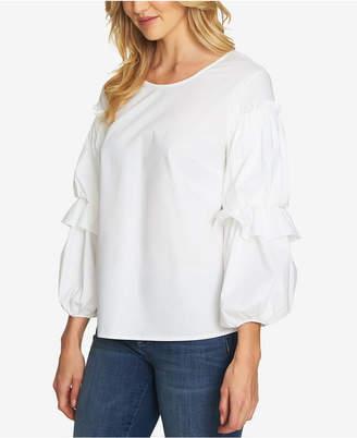 CeCe Cotton Blouson-Sleeve Top