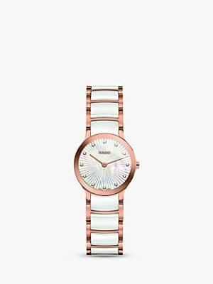Rado R30186912 Women's Centrix Diamond Bi-Material Bracelet Strap Watch, White/Rose Gold