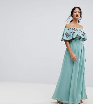 Little Mistress Petite Floral Embroidered Off Shoulder Maxi Dress