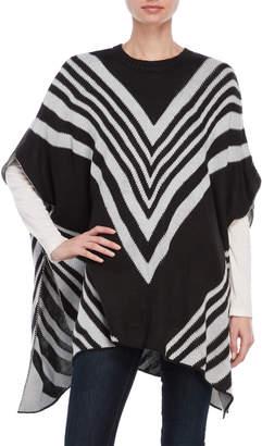 August Silk Crew Neck Chevron Pattern Poncho Sweater