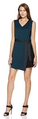 Savoir Faire Dresses Women's Sleeveless Ponte Roma V-Neck Belted Dress 6