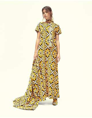 La Doublej Pavone Nero Velvet Swing Dress