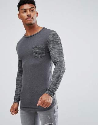 Asos Design muscle Long Sleeve T-Shirt With Stretch and Inject Pocket And Sleeve