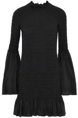 Stella McCartney Ruffle-Trimmed Smocked Silk-Chiffon Dress