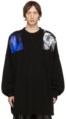 Raf Simons Black Oversized Patches Sweater