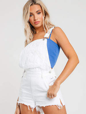 Lee New Short Overalls In Trashed White Denim Womens Jumpsuits & Dungarees
