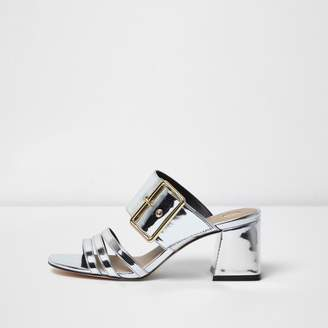 River Island Womens Silver metallic strappy mules
