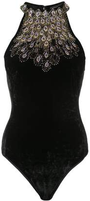 Josie Natori peacock beaded bodysuit