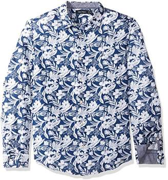 Nautica Men's Long Sleeve Print Pattern Button Down Linen Shirt