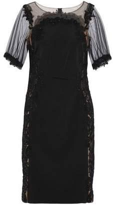 Marchesa Embellished Tulle-paneled Cady Dress