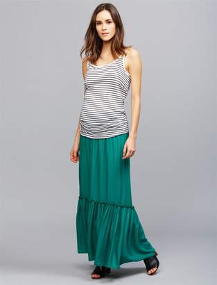 A Pea in the Pod Under Belly Ruffle Hem Maternity Maxi Skirt
