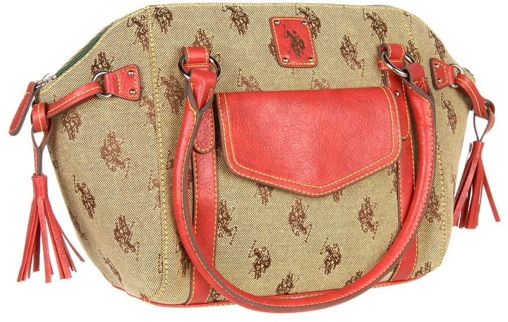 U.S. Polo Assn. USPA Verona Jacquard Satchel (Chino) - Bags and Luggage