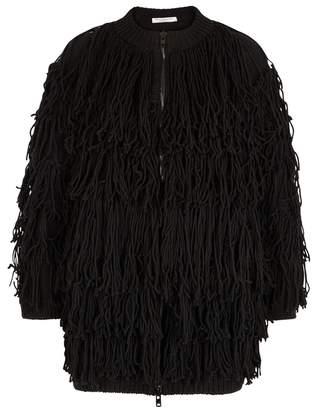 Philosophy di Lorenzo Serafini Black Fringed Wool Cardigan