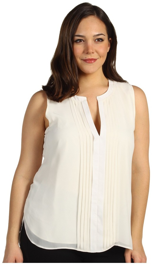Kenneth Cole New York - Plus Size Pleated Front Tux Top (Ivory) - Apparel