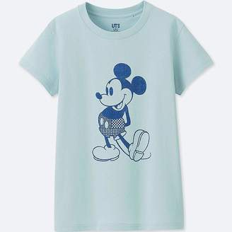 Uniqlo Women's Mickey Blue Short-sleeve Graphic T-Shirt