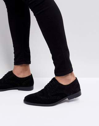 Asos Design Derby Brogue Shoes In Black Suede
