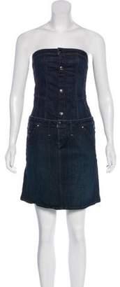 G Star Strapless Denim Mini Dress