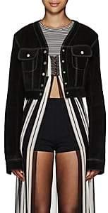 Marc Jacobs Women's Topstitched Suede Crop Jacket - Black