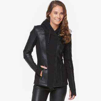 Blanc Noir Asymmetrical Hooded Moto Jacket - Women's