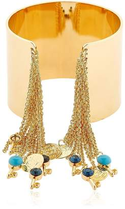 Chain Fringe & Charms Cuff Bracelet