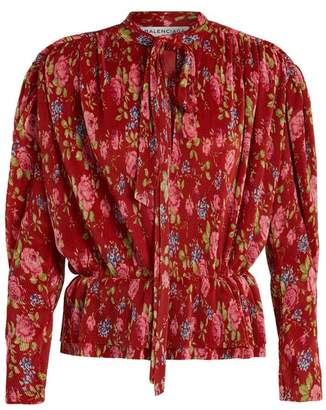 Balenciaga Pleated Lavalliere Blouse - Womens - Red Print