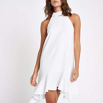 River Island White frill hem halterneck swing dress