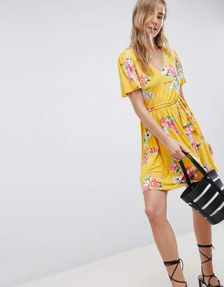 Asos Design DESIGN v neck tea dress with belt in floral print